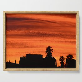 Blood Orange Sunset Over Small Desert Town Serving Tray