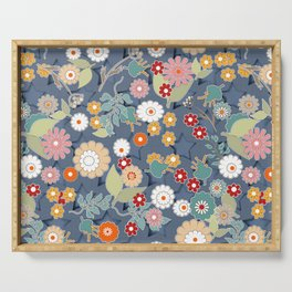 Colorful flowers on a denim background. Serving Tray