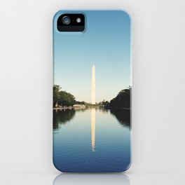 Washington monument in the reflecting pool iPhone Case