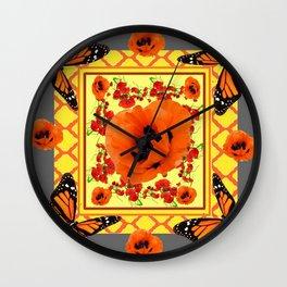 MONARCH BUTTERFLIES & POPPIES GARDEN GREY DESIGN Wall Clock