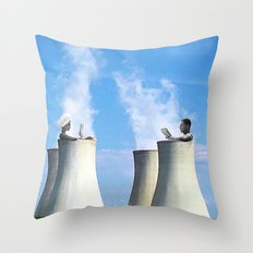 in a hot tub Throw Pillow