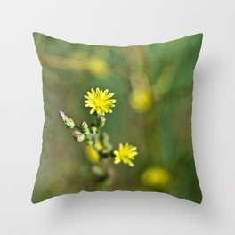 Golden flowers by the lake 1 Throw Pillow