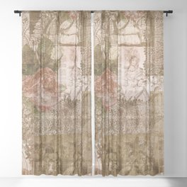 Vintage & Shabby Chic - Victorian ladies pattern Sheer Curtain