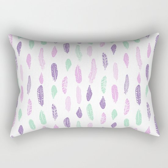 Feathers pastel lilac and mint pink nursery pattern minimal trendy boho hipster pattern Rectangular Pillow