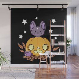 Pumpkin Cats Son // Black Wall Mural