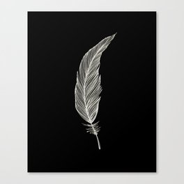 One Feather - White & Black Canvas Print