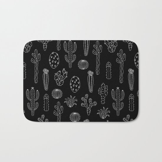 Cactus silhouette white and black bath mat by lavieclaire society6 for Black and white bathroom mats
