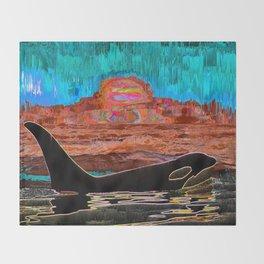 Orca Sunset Throw Blanket