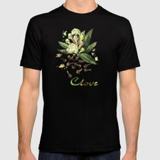 Watercolor Clove Mens Fitted Tee MEDIUM Black
