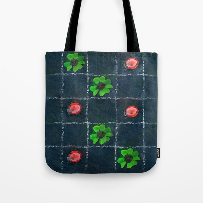 Clover and ladybugs tic-tac-toe pattern Tote Bag