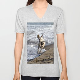 Flying Dog - Catania Beach - Sicily Unisex V-Neck