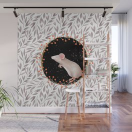 Beautiful nosey Mouse with flower background- Animal - mice - flowers Wall Mural