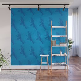 Watercolor running man silhouette background in blue color pattern Wall Mural