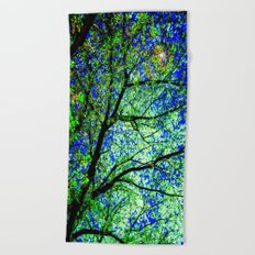 Green Leaves Night Sky Beach Towel