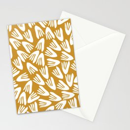 Papier Découpé Modern Abstract Cutout Pattern in White and Dark Mustard Stationery Cards