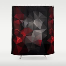 Polygon red black triangles . Shower Curtain