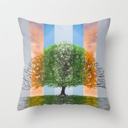 Digital painting of the seasons of the year in a tree Throw Pillow