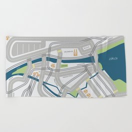 The Streets of Zurich Beach Towel