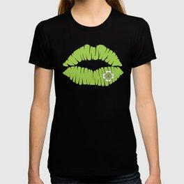 St. Patrick's Day Shirt Women Lipstick Green T-shirt