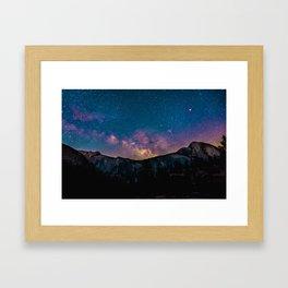Milky Way Mountains Deep Pastel Framed Art Print