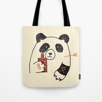 panda Tote Bags featuring Panda by Farnell