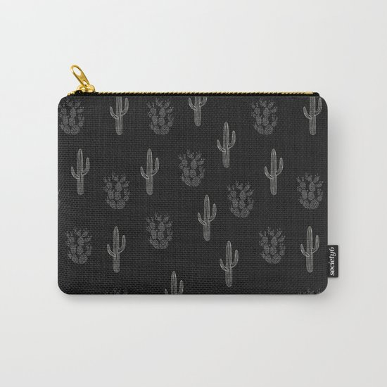 Cactus Pattern Black Carry-All Pouch