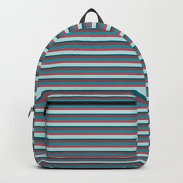 Classic Vintage Horizontal Stripes in Cool and Funky Retro Teal, Blue, Aqua, Rose Pink and Burgundy Backpack