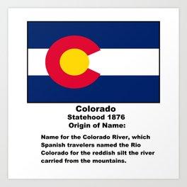 Colorado Name Origin Words Below Flag Art Print