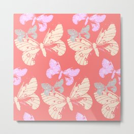 Butterflies on Coral Red Metal Print