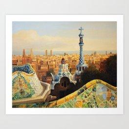 Barcelona Park Guell Art Print