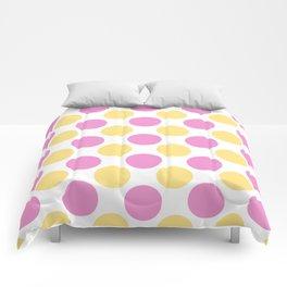 Yellow and pink polka dots Comforters