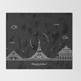 Naypyidaw Minimal Nightscape / Skyline Drawing Throw Blanket