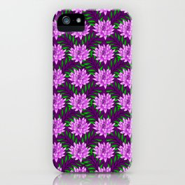 pink blooming lily flowers and green leaves plant floral burgundy pretty feminine nature pattern iPhone Case