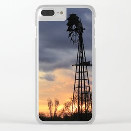 Kansas Windmill Sunset Sillouette Clear iPhone Case