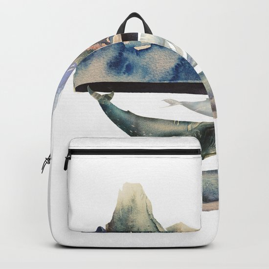 mountain and whales Backpack