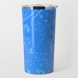 blue night forest Travel Mug