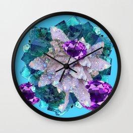 PURPLE AMETHYST  AQUAMARINE QUARTZ CRYSTAL ART Wall Clock