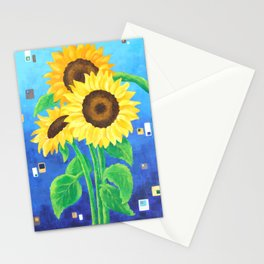 Sunflowers on Blue Stationery Cards