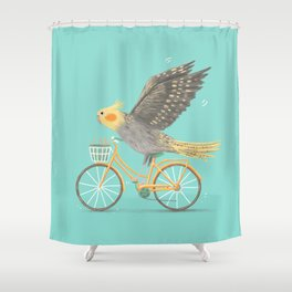 Cockatiel on a Bicycle Shower Curtain
