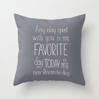 """winnie the pooh Throw Pillows featuring  Winnie the Pooh quote  """"FAVORITE""""  by SimpleSerene"""