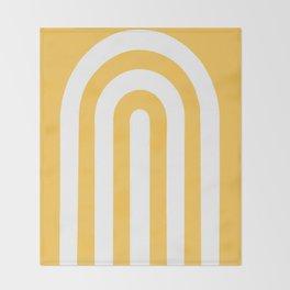 yellow and white retro u stripes Throw Blanket