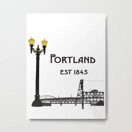 Historic Portland, Oregon by Seasons K Designs Metal Print