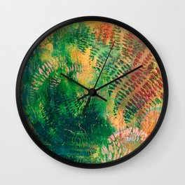 Ferns in color Wall Clock