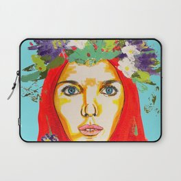 Red haired girl with flowers in her hair Laptop Sleeve
