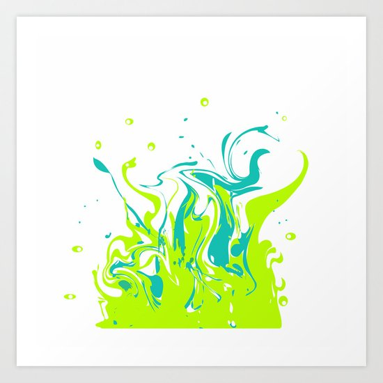 Green with turquoise blue abstraction on white background . Art Print