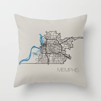 memphis Throw Pillows featuring Memphis by linnydrez