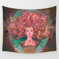 medusa Wall Tapestries featuring Medusa by Kindra Haugen