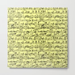 Hand Written Sheet Music // Canary Yellow Metal Print