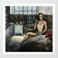 Coffee with Kate (oil on canvas) Art Print