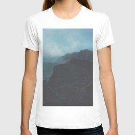 MIsty Cliffs Bluffs Blue Hues Minimalist Dark Landscape T-shirt